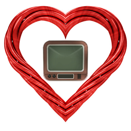 retro television in red pipe shaped heart isolated on white illustration illustration