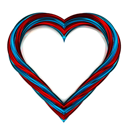 red and blue glassy shaped heart artwork isolated on white illustration 版權商用圖片