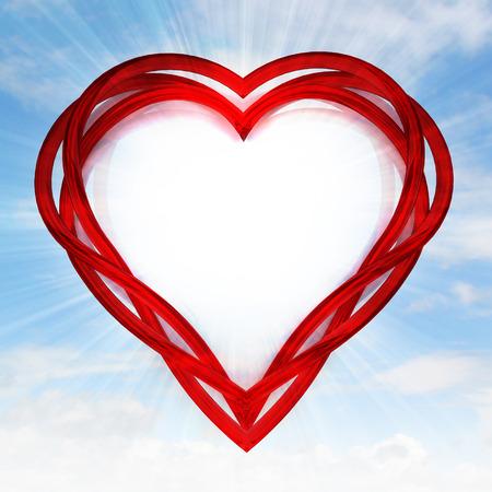 red glassy shaped heart artwork in sky flare illustration illustration
