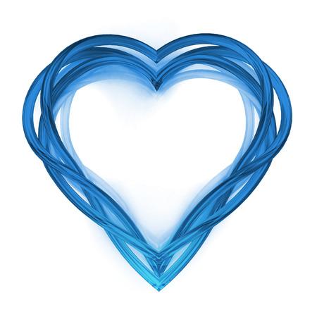 modern blue glassy shaped heart artwork  isolated on white illustration 版權商用圖片