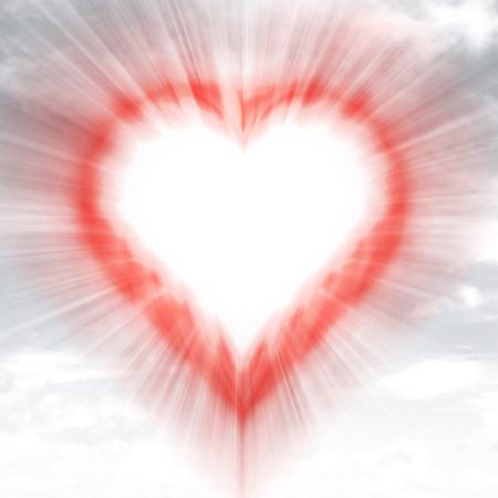 modern red shaped heart blurred in sky flare illustration 版權商用圖片