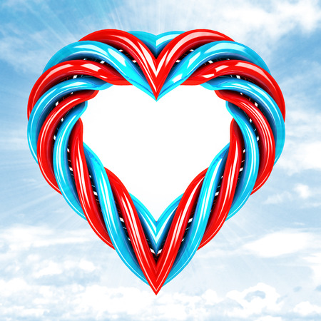 red and blue glassy tube shaped heart in sky flare illustration