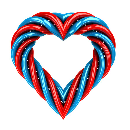 red and blue glassy tube shaped heart isolated on white illustration illustration