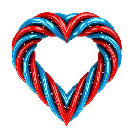 red and blue glassy tube shaped heart isolated on white illustration illustration