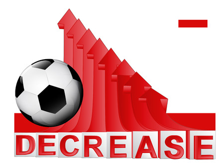 descending: soccer ball with red descending arrow graph vector illustration