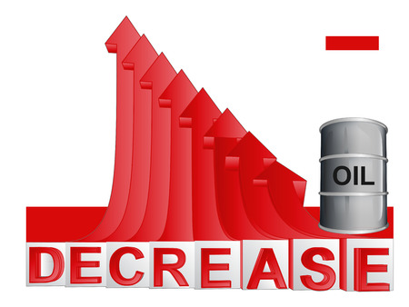 descending: oil merchandise barrel with red descending arrow graph vector illustration