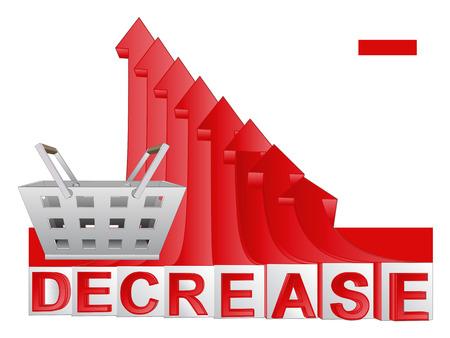 descending: trade market basket with red descending arrow graph vector illustration