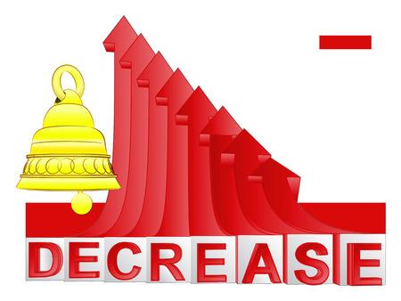 descending: warning bell ring with red descending arrow graph vector illustration