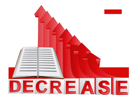 descending: book education with red descending arrow graph vector illustration Illustration