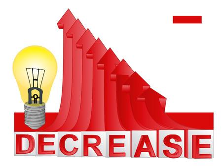 descending: yellow idea bulb with red descending arrow graph vector illustration