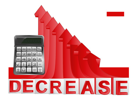 descending: business calculator with red descending arrow graph vector illustration