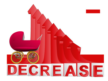 descending: baby pushchair with red descending arrow graph vector illustration