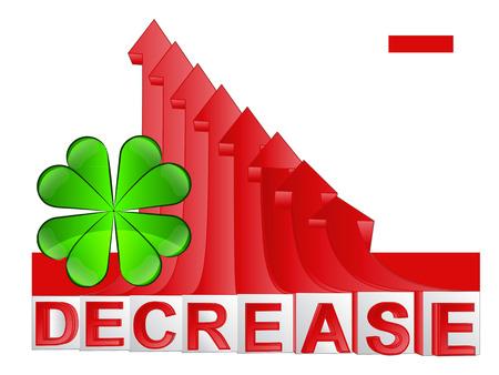 descending: cloverleaf happiness with red descending arrow graph vector illustration Illustration
