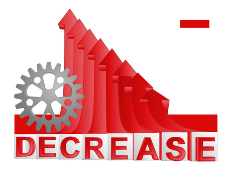 descending: machinery industry part with red descending arrow graph vector illustration
