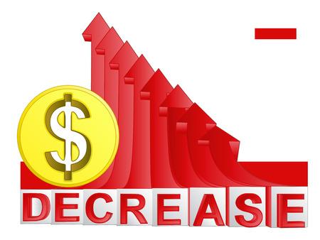 descending: golden Dollar coin with red descending arrow graph vector illustration