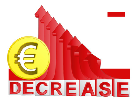 descending: golden Euro coin with red descending arrow graph vector illustration Illustration