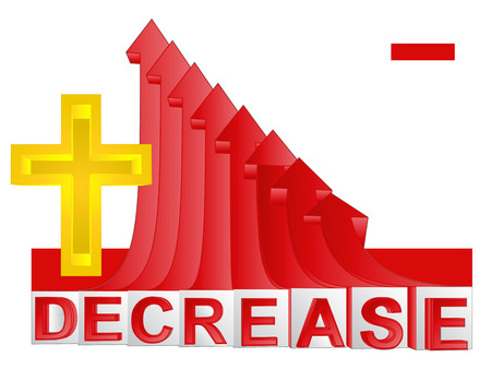 negative business faith with red descending arrow graph vector illustration