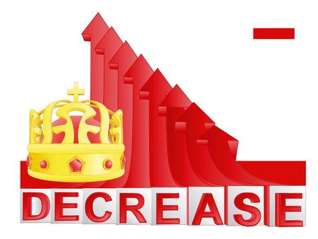 descending: royal business with red descending arrow graph vector illustration Illustration