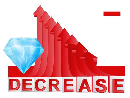 descending: diamond business with red descending arrow graph vector illustration