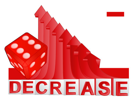 descending: red lucky dice with red descending arrow graph vector illustration