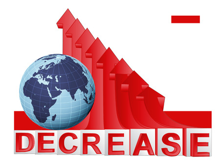 descending: African countries business with red descending arrow graph vector illustration