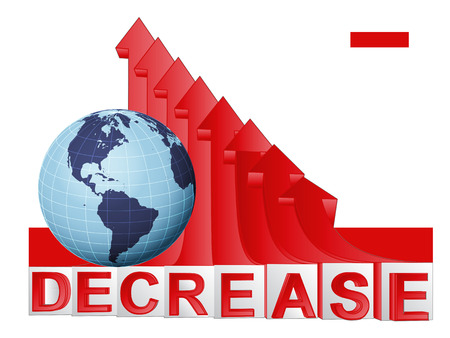 descending: American countries business with red descending arrow graph vector illustration