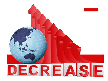 descending: Asian countries business with red descending arrow graph vector illustration