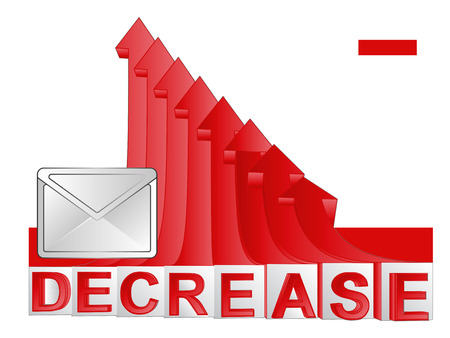 descending: stats message with red descending arrow graph vector illustration