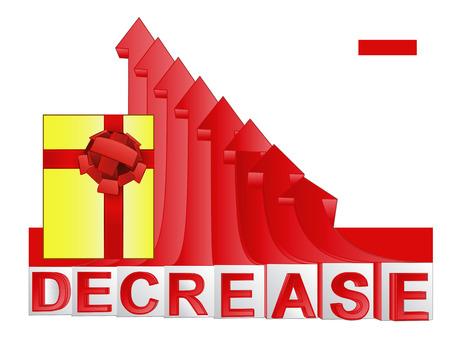 descending: gift box with red descending arrow graph vector illustration Illustration