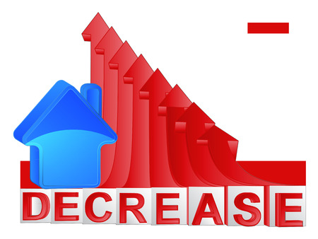 descending: house property business with red descending arrow graph vector illustration