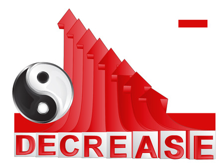 descending: business balance symbol with red descending arrow graph vector illustration Illustration