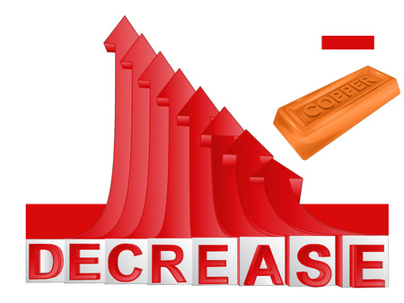 descending: copper merchandise business with red descending arrow graph vector illustration Illustration