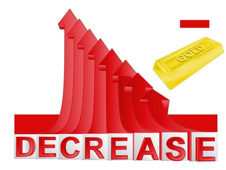 descending: gold merchandise business with red descending arrow graph vector illustration Illustration