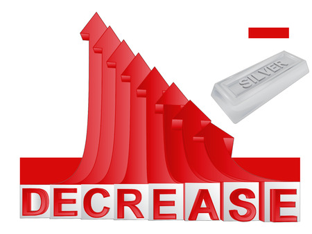 descending: silver merchandise business with red descending arrow graph vector illustration