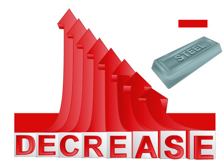 descending: steel merchandise businesswith red descending arrow graph vector illustration Illustration