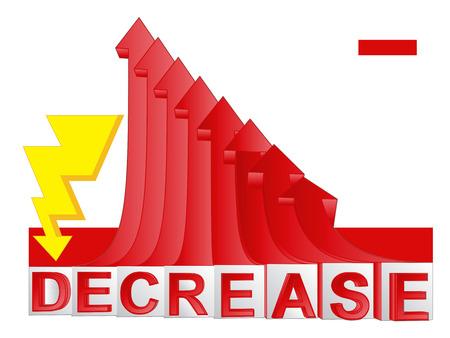 descending: thunder strike to red descending arrow graph vector illustration Illustration