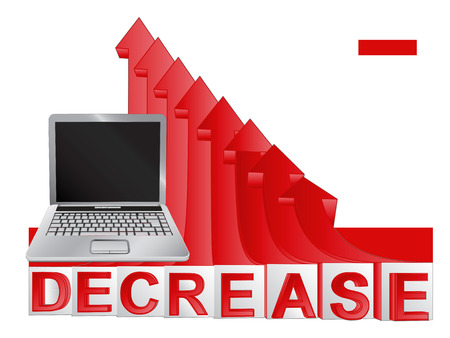 descending: new laptop with red descending arrow graph vector illustration Illustration