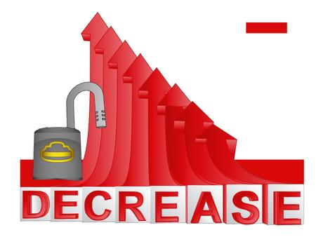 descending: opened padlock with red descending arrow graph vector illustration Illustration