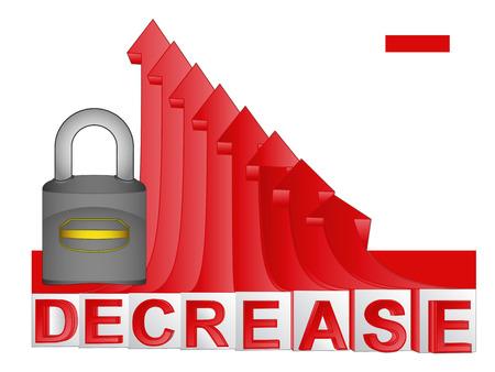descending: closed padlock with red descending arrow graph vector illustration