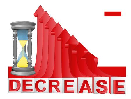descending: time countdown with red descending arrow graph illustration Illustration