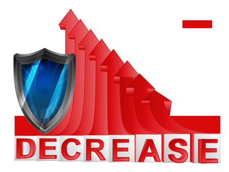 descending: security shield with red descending arrow graph illustration