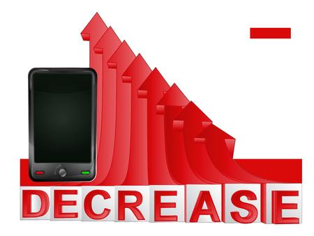 descending: new smart phone with red descending arrow graph illustration Illustration