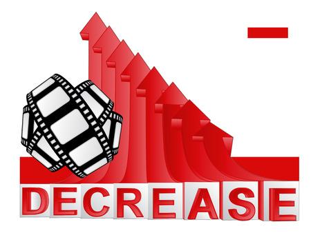 descending: movie tape with red descending arrow graph illustration