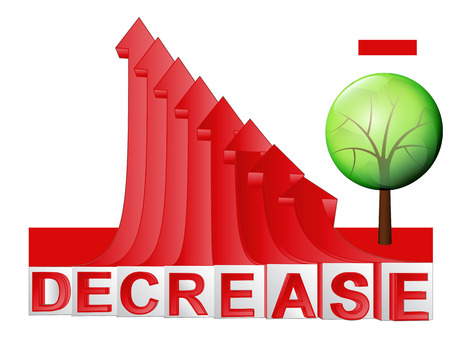 descending: leafy tree with red descending arrow graph illustration