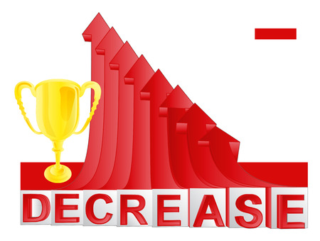 descending: champion cup with red descending arrow graph illustration