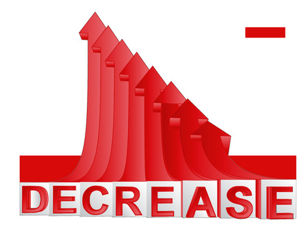 descending: red descending arrow graph with text vector illustration