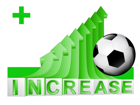 soccer ball on green rising arrow graph vector illustration Vector