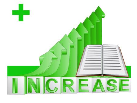 publish: book education on green rising arrow graph illustration Illustration