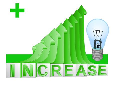 eletrical: blue eletrical bulb on green rising arrow graph illustration