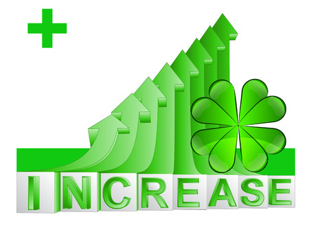 felicity: cloverleaf happiness on green rising arrow graph vector illustration